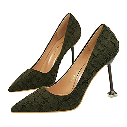 Makegsi Donna Scarpe A Punta In Pelle Scamosciata Con Tacco A Spillo Tacco Alto Sexy Slip On Dress Green