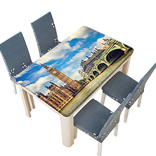 PINAFORE Fitted Polyester Tablecloth  Ben Tower and Westminster Bridge in a Partly Cloudy Day in Blue White Peru Washable for Tablecloth W45 x L84.5 INCH (Elastic Edge)