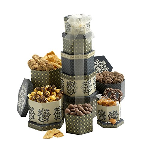 Broadway Basketeers Token of Appreciation Gift Tower Holiday Gift Basket for Business Family, Him & Her Christmas Gifts