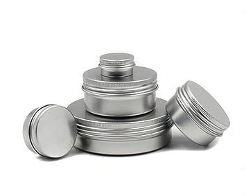 10x Diy Leer : 12pcs 5 ml 20 ml 40ml 80 ml 100ml rund metall aluminium nail art lip