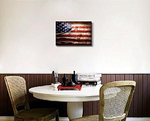Closeup of Grunge American Flag Vintage Retro Style Patriotic Concept Wall Decor ation
