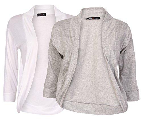 Ten on Ten Women's Front Open Shrug Free Size White/ Grey