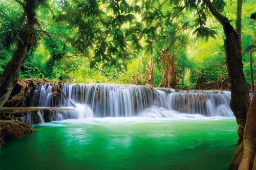 Paradise photo wall paper - waterfall in the jungle - jungle river Kanchanaburi Thailand Si Sawa mural - XXL wall decoration 132.3 Inch x 93.7 Inch