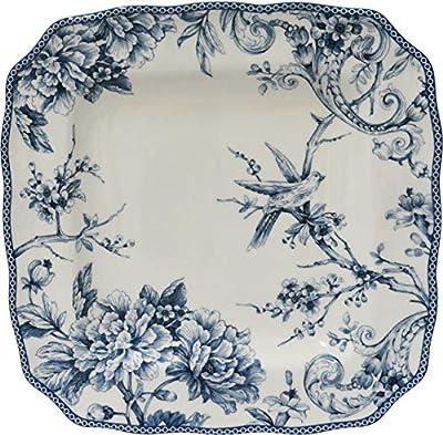 Adelaide Blue 16 Piece Porcelain Dinnerware Set Square, Service for 4