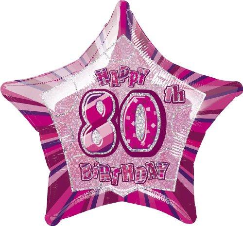 Star Foil Balloon - 80th Pink (Star 20 Inch Foil Balloon)