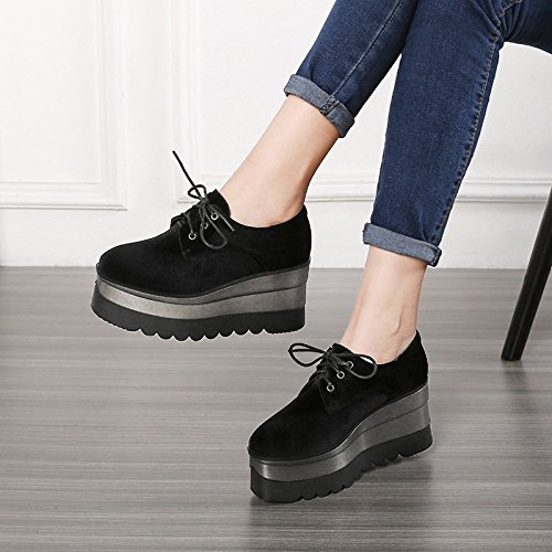 Shoes Encaje De Zapatos Shoes Thirty SFSYDDY Bottom Con Negros Otoño Treinta Gruesas 5 El Y Con Suelas Y Zapatos 7 Estudiantes Cuatro La Cm Casual Primavera Velvet eight Profunda Pendiente Panecillo Xq6X1O