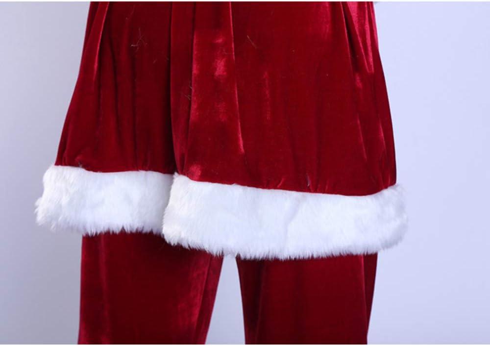 4XL-6XL,XXXXL Babbo Natale Vestito GSDZ Tenere in Caldo Il Costume in 9 Pezzi Costumi di Babbo Natale per Adulti Costumi di Babbo Natale Costume da Babbo Natale in Velluto di Lusso