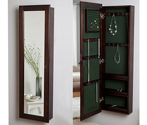 HLC Hochwertiger Schmuckschrank Spiegelschrank Hängeschrank Schmuckkasten aus Holz mit 14.5W x 48H Spiegel Wandspiegel, mit Sperre. Farbe:Espresso