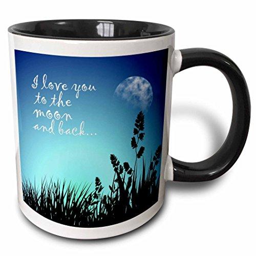 (3dRose 220301_4 Beautiful Blue Night Scene- I Love You To The Moon And Back Mug, 11 ounce, Black)