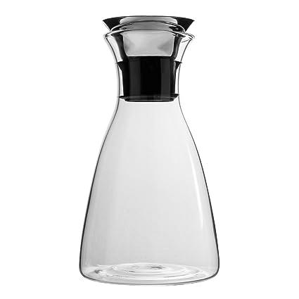 Cusfull Jarra Cristal de Agua con Colador Universal 1L para Botella Grande con Tapa de Acero