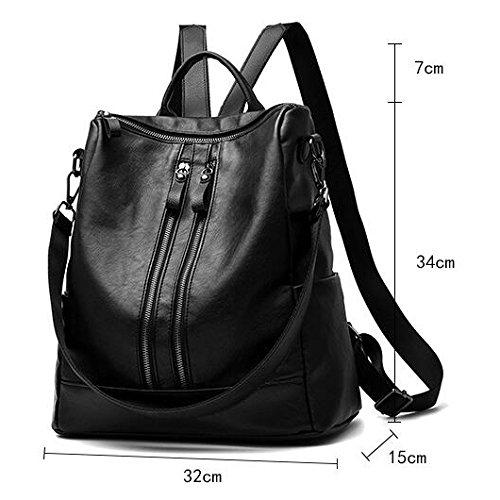 Bolsa 34cm Mochilas Mochila Genuino Multifunción Black 15 Gran Mujer Cuero Hombro Viaje Para Bolso Capacidad De brown 32 apqwfXp8H
