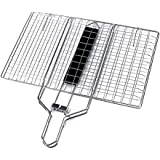Deftun Portable BBQ Barbecue Grilling Basket Stainless Steel with Removable Wooden Handle for Meat Beef Corn Steak Vegetables Outdoor Barbecue Food Cooking Tool