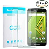 [2 Pack] Innker Touch Sensitive Tempered-Glass Screen Protector your Motorola Moto X Play [9H Hardness] [Premium Crystal Clear] [Scratch-Resistant] [No-Bubble Installation],Lifetime Warranty