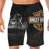 REBELN Men's Harley Davidson Logo Mens Summer Swim Trunks Quick Dry Funny Beach Board Shorts Casual Pants Printing