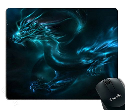 Smooffly Mouse pad Unique Design Mouse Pad Cool Blue Dragon Design Gaming Mousepad