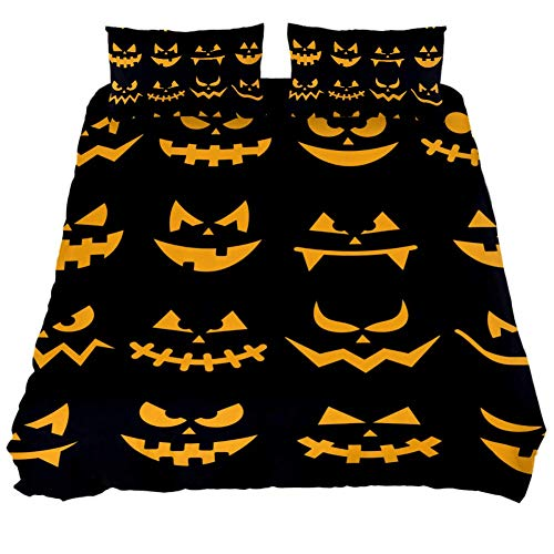 LORVIES Scary Halloween Orange Pumpkin Faces Duvet Cover Set, 3 PieceQuilt Bedding Cover with Zipper, Ties, Decorative Bedding Sets with Pillow Shams for Men Women Boys Girls Kids Teens ()