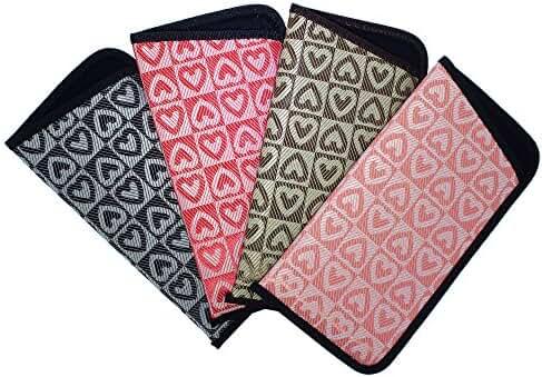 4 Pack Soft Slip In Eyeglass Case For Women- Floral, Heart, & Daisy Assortments