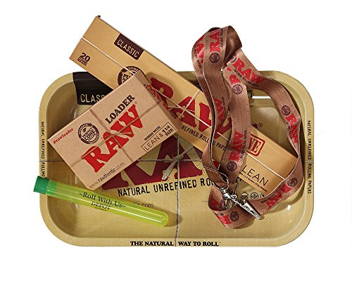 RAW Rolling Papers Supreme Lean Cone Combo - Includes RAW Rolling Tray, Raw Pre-Rolled Lean Cone 20 Pack, RAW Loader, RAW Lanyard, and Roll With Us Doobtube by Roll With Us Depot