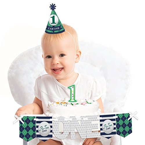 Big Dot of Happiness Par-Tee Time - Golf 1st Birthday - First Birthday Boy or Girl Smash Cake Decorating Kit - High Chair Decorations -