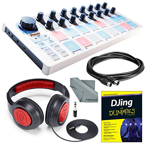Arturia BeatStep USB/MIDI/CV Controller and Sequencer and Deluxe Bundle w/ Samson SR360 Professional Headphones + MIDI Cable + Djing for Dummies + Fibertique Cloth