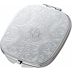 Personalized Silver Baroque Design Compact Mirror Custom Engraved Free