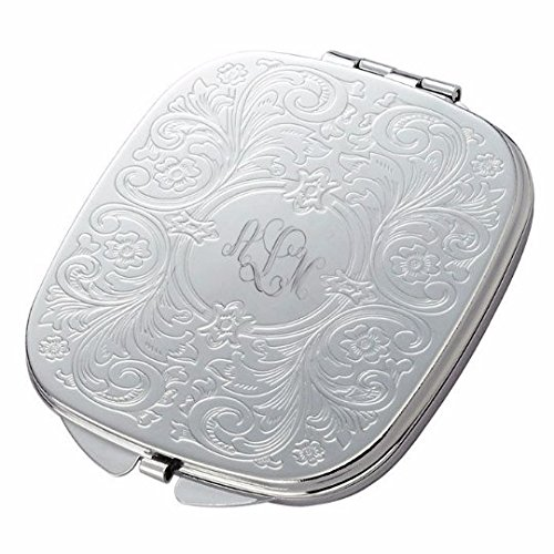 (Personalized Silver Baroque Design Compact Mirror Custom Engraved Free)