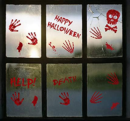 Bloody Handprint Footprint Halloween Decorations Creepy Blood Splatter Wall Decals for Vampire Zombie Spooky Window Stickers for Halloween Party Decorations 130 PCS Halloween Window Clings