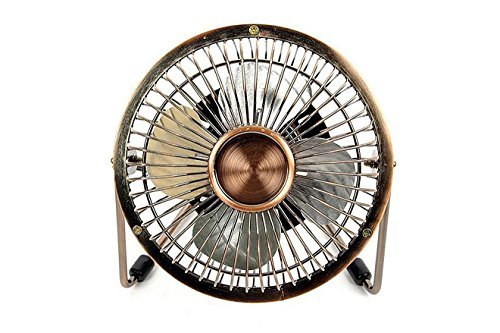 Antique Mini USB Table Desk Personal Fan (Metal Design, Quiet Operation; 4 Feet USB Cable, High Compatibility) by Dream Electronic