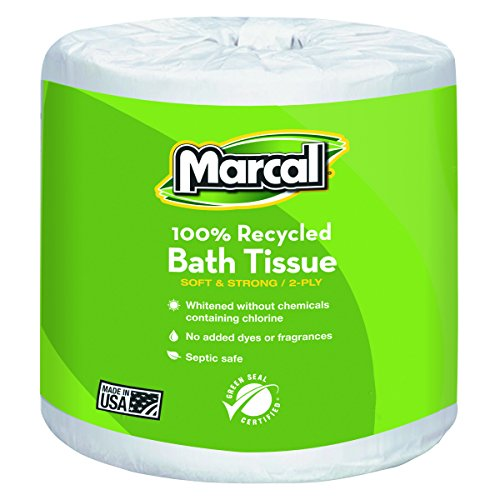 Marcal 6079 100% Recycled Two-Ply Bath Tissue, White , 336 Sheets Per Roll (Case of 48 Rolls) (Marcal Tissue Bath Premium)