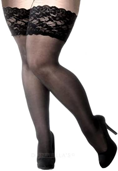 CURRMIEGO Womens Fishnet Thigh Highs Plus Size Stay-up Stocking with Lace top