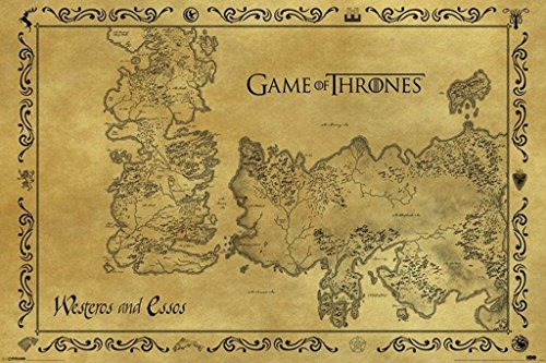 Game Of Thrones Antique Map Westeros Essos HBO Medieval Fantasy TV Television Series Poster 36x24