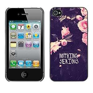 Cubierta de la caja de protección la piel dura para el Apple iPhone 4 / 4S - motivational funny flowers rose