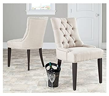 Etonnant Safavieh Abby Beige Linen Contemporary Upholstered Nailhead Side Chairs  (Set Of 2)