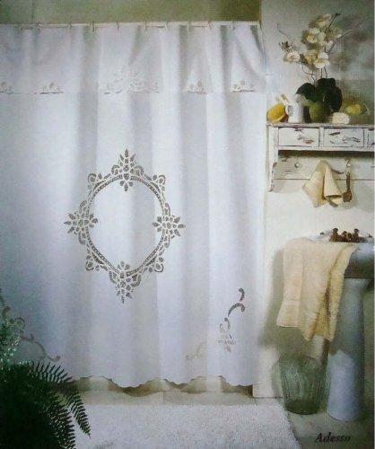 Vintage Battenburg White Cotton Shower Curtain