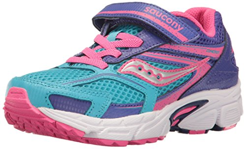 Saucony Cohesion 9 Alternative Closure Running Shoe (Little Kid/Big Kid), Blue/Pink, 13 M US Little Kid by Saucony