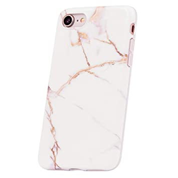 QULT Carcasa para Móvil Compatible con iPhone 6 Plus iPhone 6S Plus Funda marmol Blanco Silicona Flexible Bumper Teléfono Caso para iPhone 6/6S Plus ...