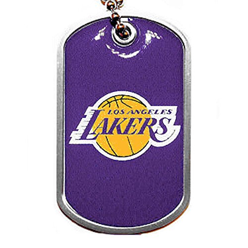 aminco Los Angeles Lakers Dog Tag Domed Necklace Charm Chain Nba