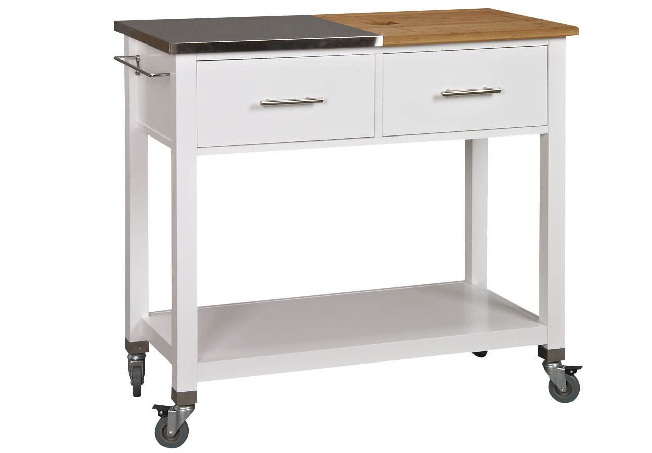Corner Housewares Chop & Prep Large Expanding Stainless Steel and Bamboo Surface 2 Drawer, 1 Shelf Rolling Kitchen Island