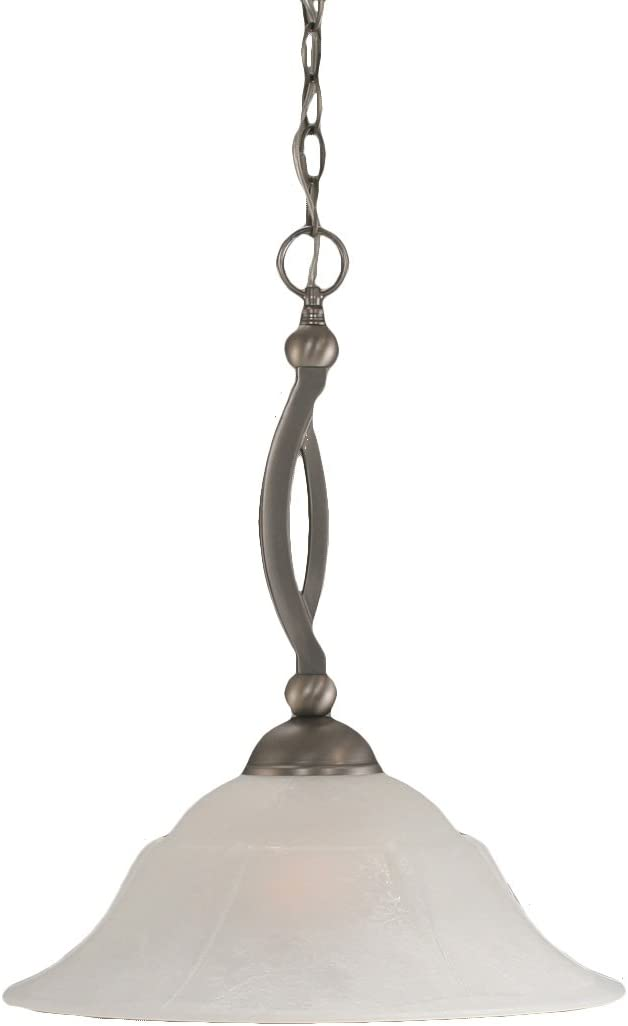 Toltec Lighting 271-BN-53615 Bow One-Light Down light Pendant Brushed Nickel Finish with White Marble Glass, 16-Inch