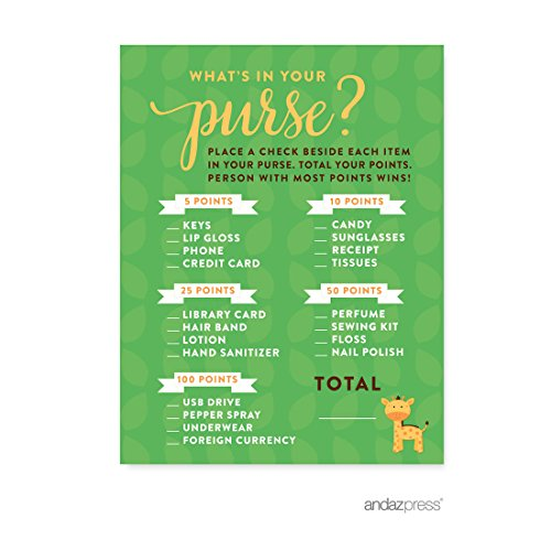 Andaz Press Jungle Safari Baby Shower Collection, Games, Activities, Decorations, What's in Your Purse? Game Cards, 20-pack -
