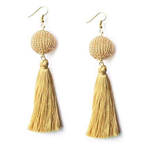 (MHZ JEWELS Beige Yellow Bead Ball Tassel Earrings Bohemian Fringe Dangle Drop Earrings Wedding Earrings for Women Girls)