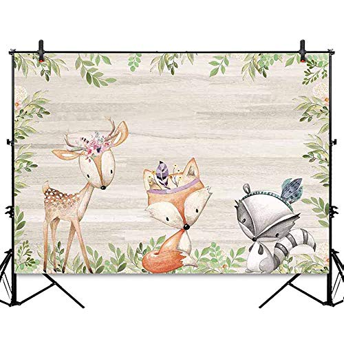 Allenjoy 7x5ft Boho Theme Woodland Baby Shower Backdrop Bohemian Birthday Party Banner Safari Animals Wood Board Baby Shower Decorations Photography Background Photo Studio Booth Dessert Table Props