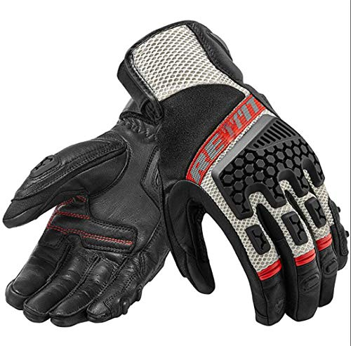 Hake Protective Men Motorcycle Adventure Touring Ventilated Gloves Leather Off-Road Motorbike Gloves Red XL ()