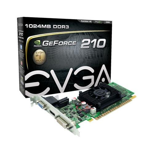 EVGA 01G-P3-1312-LR GeForce 210 1GB DDR3 Graphics Card, 64bit, 2560x1600, PCI Express 2.0 x16, VGA, DVI, HDMI, Low Profile