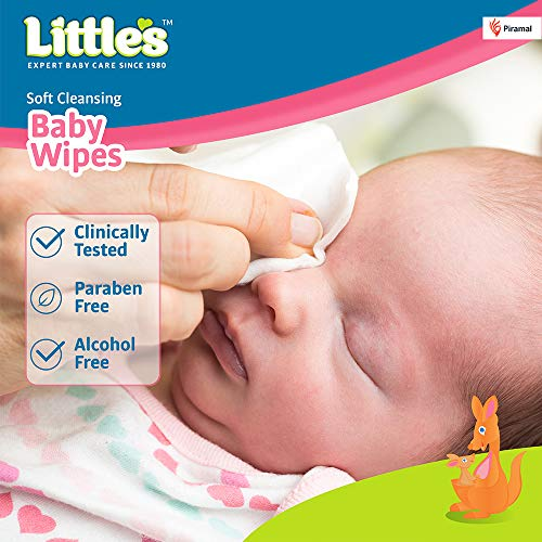 Little's Soft Cleansing Baby Wipes Lid, 80 Wipes (Pack of 6)