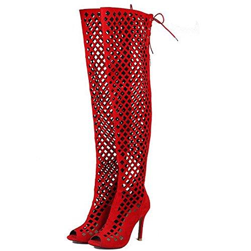 Para Verano De Talón Del Zapatos Hollow Mujer Peep Gladiador Las Botas Señoras De Toe Sandalias Party Prom Alto Red Tallas Prom IwE5qnp