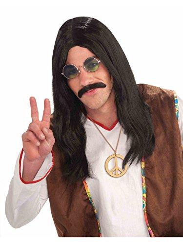 Long Hair Black Hippie Wig - Forum Novelties Men's Hippie Dude Wig-Black Party Supplies, Standard