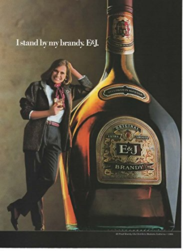 Brandy Vintage Bottle (Vintage Magazine Print Ad: 1986 E&J Brandy, Original Extra Smooth,