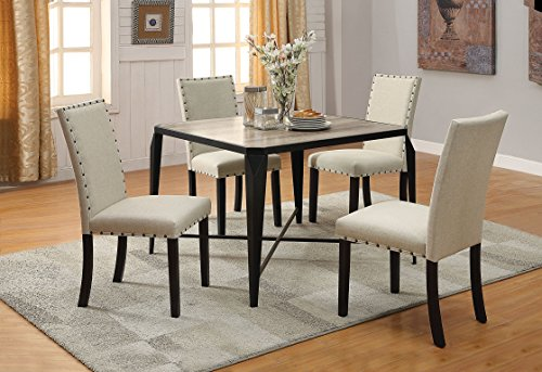 ACME Furniture 71920 Oldlake Dining Table, Antique Light Oak & Black