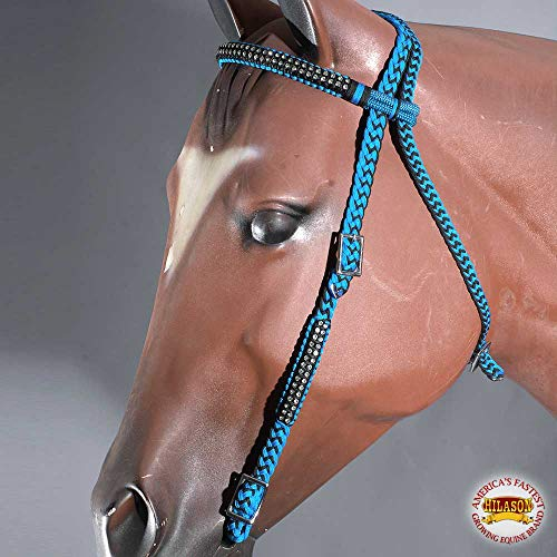 HILASON Turquoise Black Horse Bridle Headstall Braided Rope Cord Crystal Accents